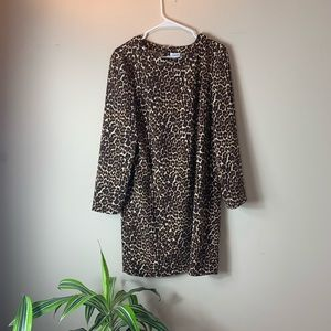 J. Crew Jaguar Print Long-Sleeve Shift Dress